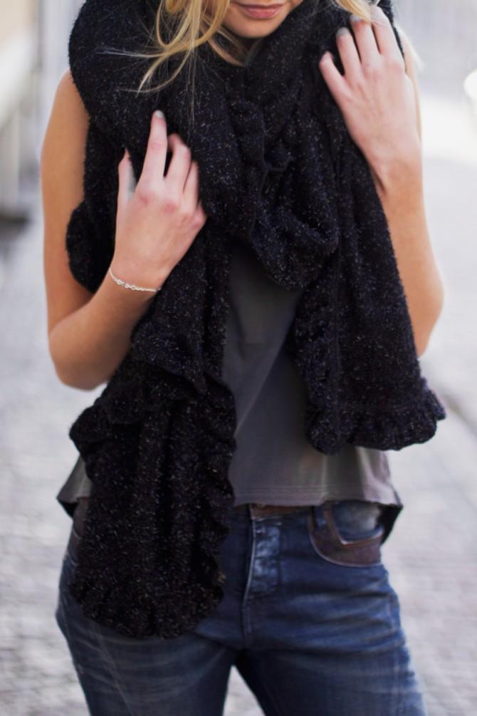 stor svart sjal