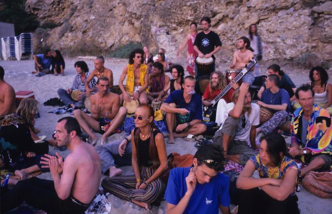 Hippies watching the sunset, Ibiza, Baleares islands, Spain, Mediterranean