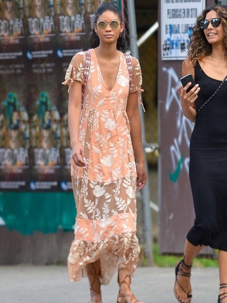 Chanel-Iman-NYC-For-Love-and-Lemons-Mia-Peach-Maxi-Dress-3-900x1200